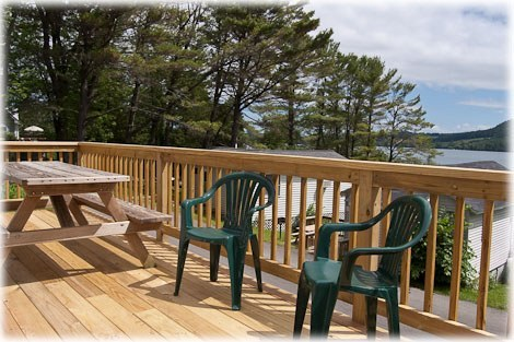 Outside, showing deck.